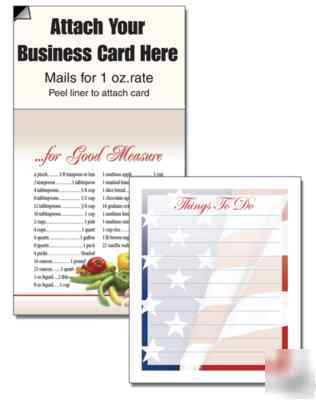 100 magnetic business card note pads, grocery lists etc