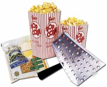 48 popcorn 4OZ salt ready pack ss scoop 100 .75OZ boxes